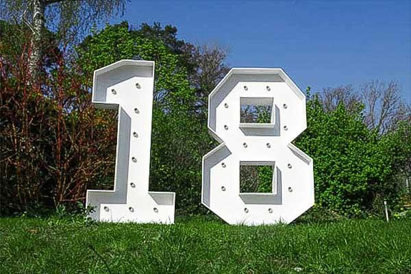 XXL LED Zahlen 18 mieten, Leuchtende LED XXL mieten, 18. Geburtstag Deko, Dekoration mieten, Geburtstagparty