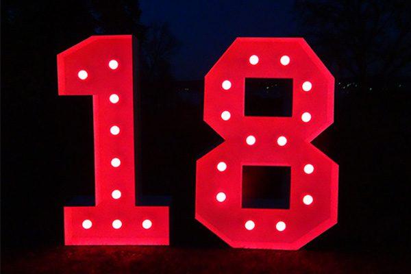 XXL Leuchtende Zahlen 18 mieten, Leuchtende LED XXL mieten, 18. Geburtstag Deko, Dekoration mieten, Dekoration für Party mieten, Geburtstagparty